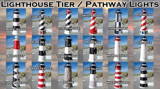 Lighthouse Tier Lights / Lighthouse Pathway Lights -for Yard or Garden