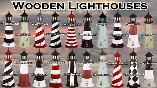 Wooden Lawn Lighthouses - for Yard or Garden
