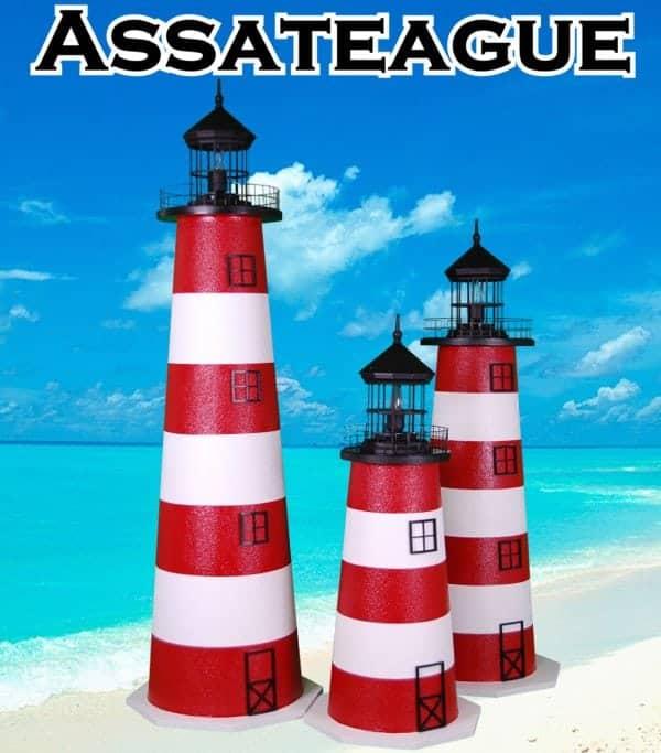 Assateague E-Line Stucco Lawn Lighthouses