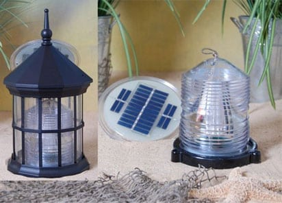 Solar powered lighthouse with rotating beacon