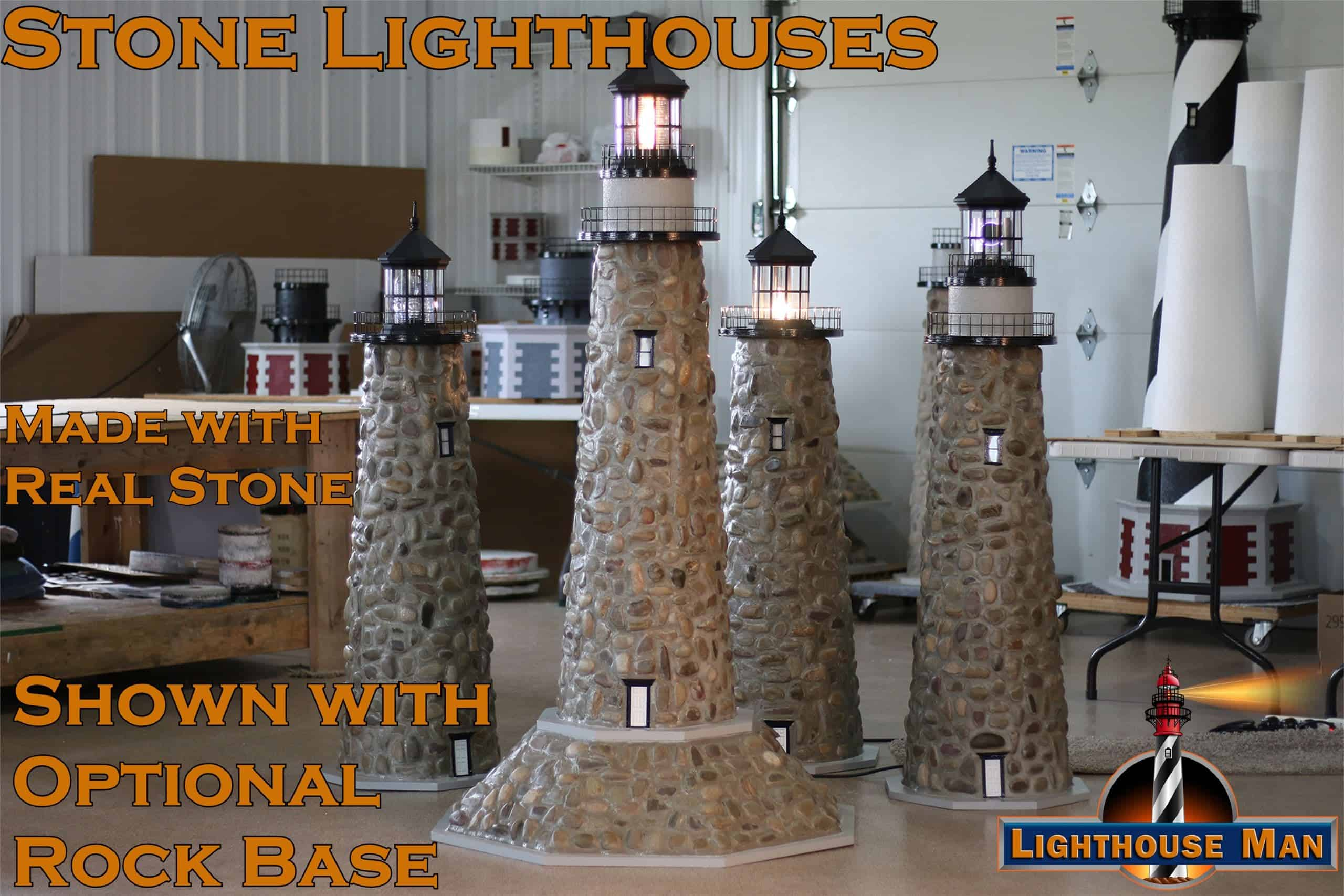 Stone Lawn Lighthouses with Rock Base