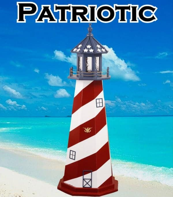 Patriotic Wooden Lawn Lighthouses