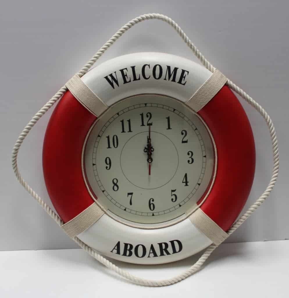 Welcome aboard boat ships life ring clock - Life Ring Clocks Lr 21r