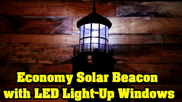 Lawn Lighthouse Solar Powered LED Light Up Windows