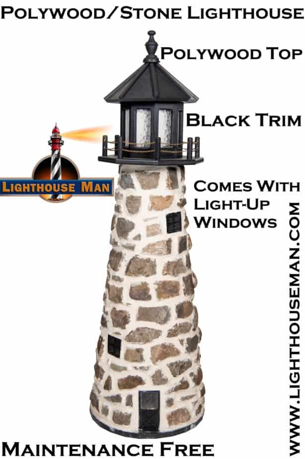 Stone Lighthouse Lawn Ornament