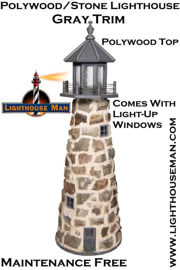 Stone Lighthouse Yard Ornament