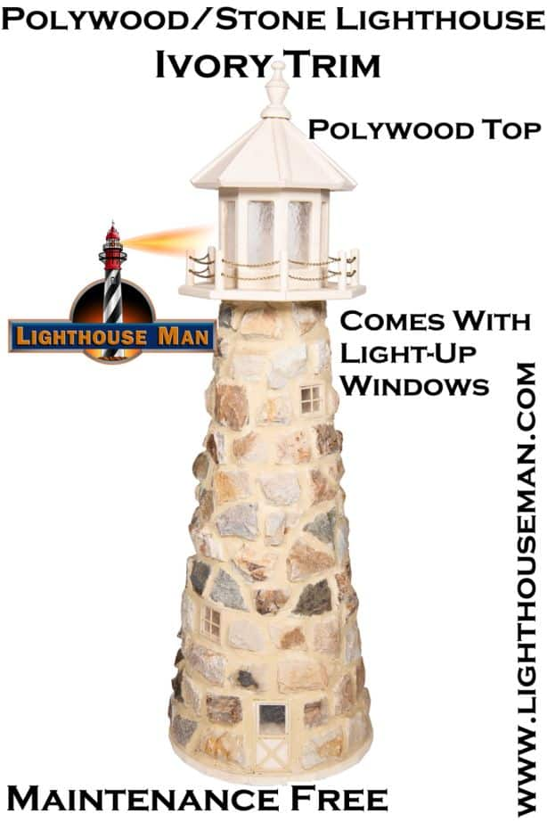Amish Stone Lighthouse Garden Ornament
